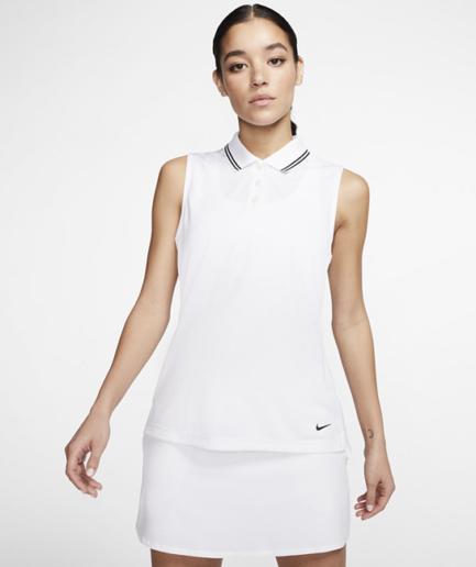Ærmeløs Nike Dri-FIT Victory-golfpolo til kvinder - Hvid