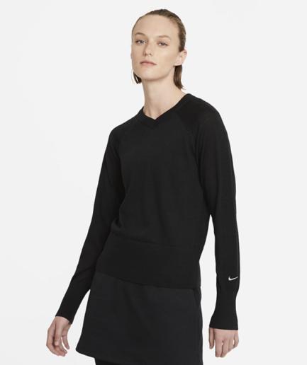 Langærmet Nike Ace-golfsweater til kvinder - Sort