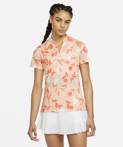 Nike Breathe-golfpolo med print til kvinder - Orange