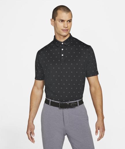 Nike Dri-FIT Player-golfpolo med print til mænd - Sort