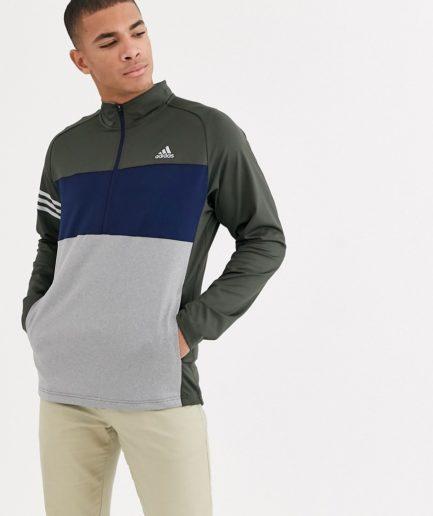 adidas Golf - Competition - Farveblokket sweatshirt med halv lynlås-Grå
