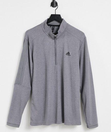 adidas Golf - Grå sweatshirt med 3 striber og lynlås