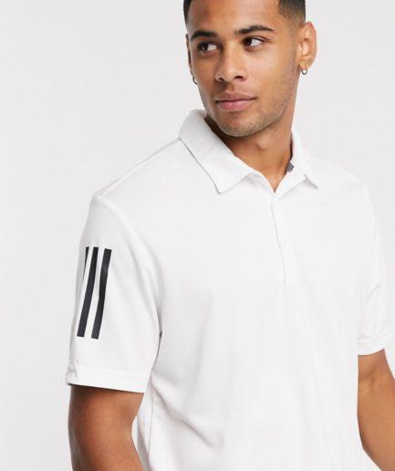 adidas Golf - Hvid polo med tre striber