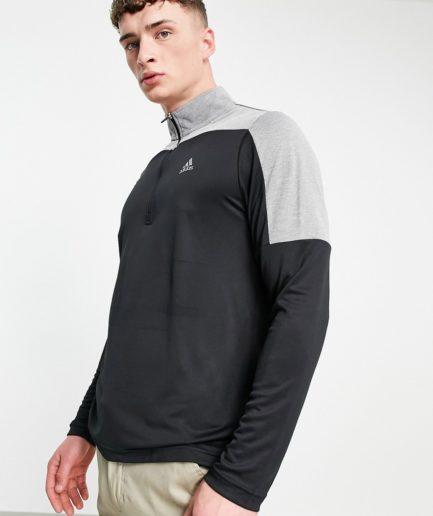 adidas Golf - Overdel med kvart lynlås i sort og grå