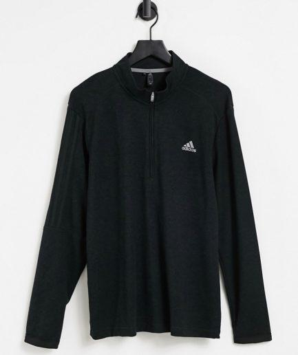 adidas Golf - Sort top med kvart lynlås og logo med 3 striber