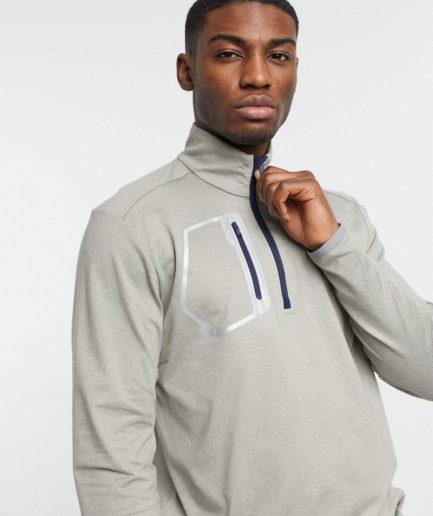 Polo Ralph Lauren - RLX Golf - Mørk, meleret sweatshirt med halv lynlås og brystlomme-Grå